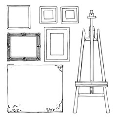 Set of vector hand drawn vintage frames, easel on white