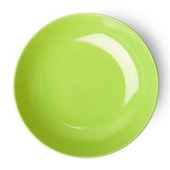 Green empty plate.