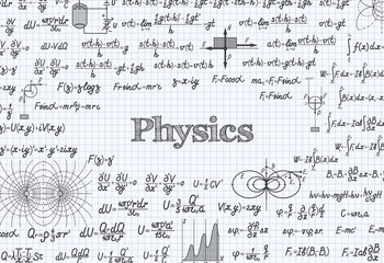 Physics vector pattern background in exercise book