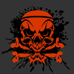 Pirate Skull and crossbones - isolated on dark