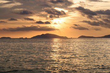 Seascape, Sunset view on tropical ocean in Thailand at summer time