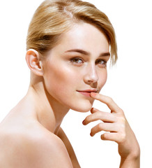 Beauty. Sensual blonde girl on white background. Youth and skin care concept