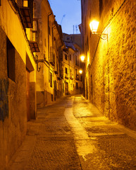 Old  street in Cuenca by late evening, Spain