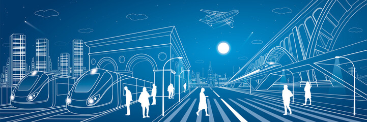 Railway station, big bridge, train move on the bridge, people waiting for the train on square, industrial and transport panorama, metro, city road, airplane fly, vector design art