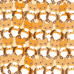 Funny cute fox seamless background, pattern. Vector