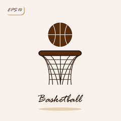 Vector illustration showing basketball and ring. Basketball Sports Game