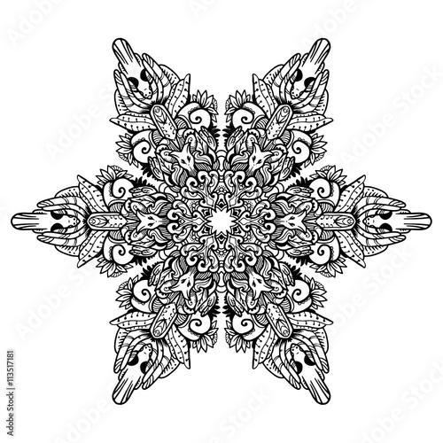 Black Mandala For Coloring Mandala Vector Coloring Page