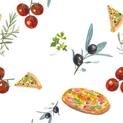 pattern pizza. Food, pizza, greens. The watercolor drawing