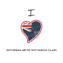 South Georgia and the South Sandwich Islander flag patriotic t-shirt design. Heart shaped national flag South Georgia and the South Sandwich Islands on white background. Vector illustration.