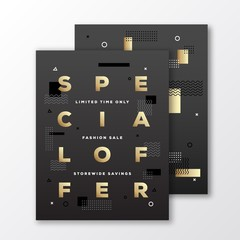 Special Offer Fashion Sale Poster, Card or Flyer Template. Modern Abstract Flat Swiss Style Background with Decorative Elements and Minimal Typography. Gold on Black. Soft Shadows.