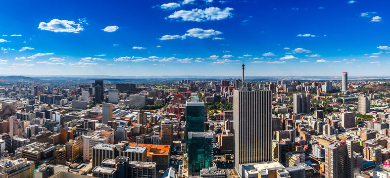 Johannesburg city and the northern suburbs in the far distance.