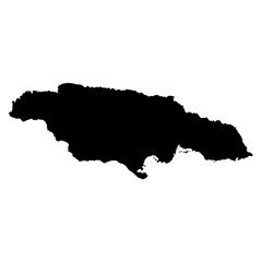 Jamaica black map on white background vector
