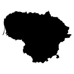 Lithuania black map on white background vector