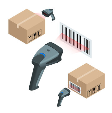 The manual scanner of bar codes. Flat 3d vector isometric illustration.