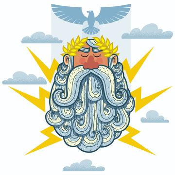 Zeus / Cartoon Illustration of the Greek God Zeus.