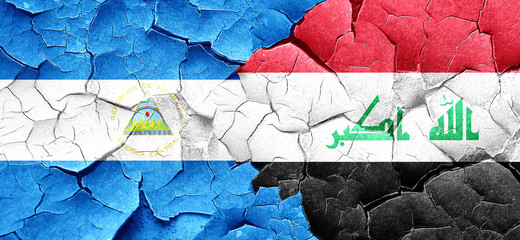 nicaragua flag with Iraq flag on a grunge cracked wall