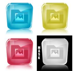 Szklana ikona z odbiciem 3D wektor