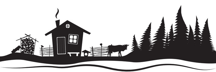Beautiful sketch with beautiful house and spruce. Hand drawn sketch. Stylish vector illustration