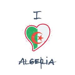 Algerian flag patriotic t-shirt design. Heart shaped national flag Algeria on white background. Vector illustration.