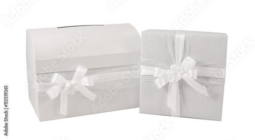 Paper wrap white ribbon bow gift box present christmas birthday
