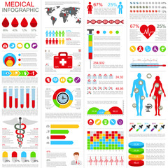 Set of medical infographic vector design template