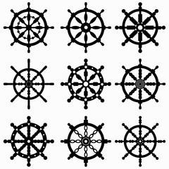 Ship control wheel icon collection