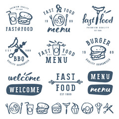 Fast food labels template in brush drawing style