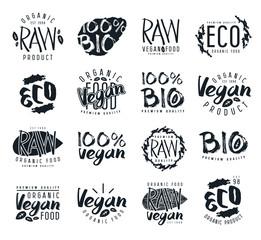 Raw vegan labels, badges and design elements