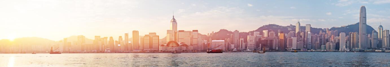 Hongkong Skyline in sunrise View Panorama