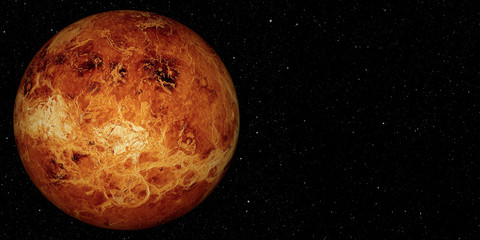 Wall Mural - 3D render the planet Venus on a space background, high resolution.