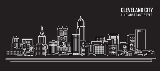 Cityscape Building Line art Vector Illustration design - Cleveland city