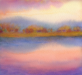 Watercolor landscape. Sunset over lake