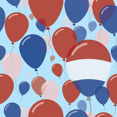 Bonaire, Sint Eustatius and Saba National Day Flat Seamless Pattern. Flying Celebration Balloons in Colors of Dutch Flag. Happy Independence Day Background with Flags and Balloons.