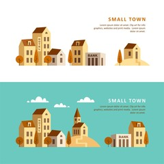 Small town. Urban landscape. Vector illustration.
