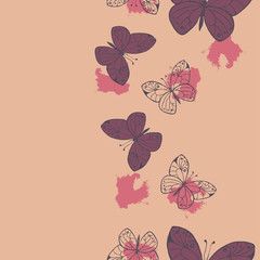 Seamless pattern with butterflies and backdrops on pastel pink background. Hand drawn vector illustration.