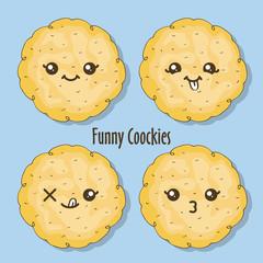 funny cookies - cookies' smile drawn in kawaii stile