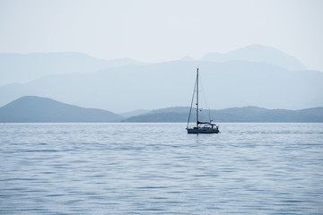 Sailing boat in the morning in Corfu, Greece