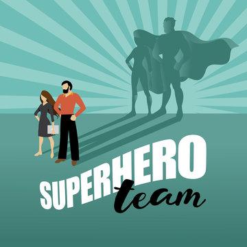 Business team super heroes marketing poster background design. EPS 10 vector.