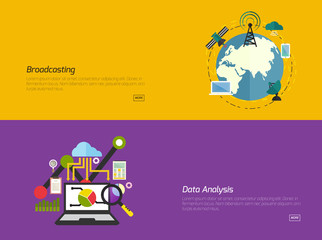Flat design concepts for broadcast Data analysis. Concepts for web banners and promotional materials.