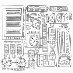 Hand-drawn decorative elements in the style of steampunk. Monochrome range. Vector graphics.