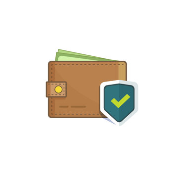 Wallet with money protected with shield icon isolated on white background, concept of savings protect, cash protection, secure deal, financial security flat vector