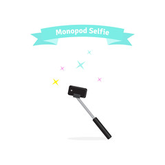 Monopod selfie concept - vector illustration. Isolated monopod icon.