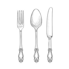 Fork, Knife, Spoon sketch set. Cutlery hand drawing collection.