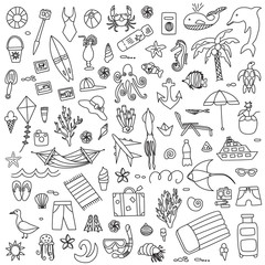Vacation doodles vector illustration set