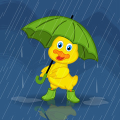 duckling hiding from rain under umbrella - vector illustration, eps
