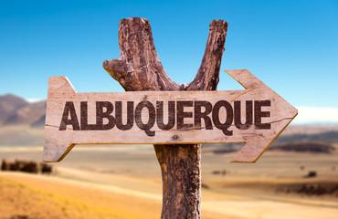 Albuquerque directional arrow in a desert