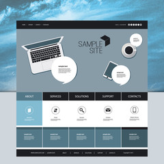 Website Design for Your Business with Abstract Cloudy Sky Image Background and Electronic Devices