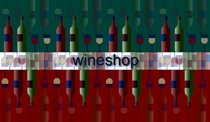 poster label signboard of wine and glasses and bottles