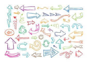 Hand drawn arrows vector set. Arrows design elements for infographics