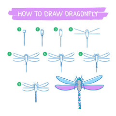 How to draw dragonfly hand drawn instructions